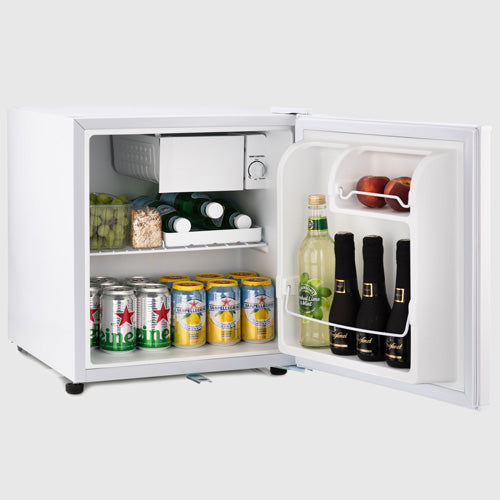 Table top white mini fridge with flexible storage