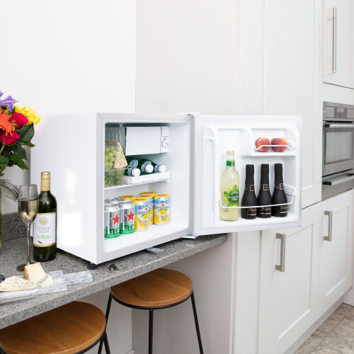Space saving table top white mini fridge