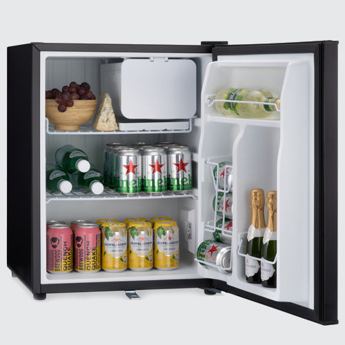 Table top mini fridge with flexible storage