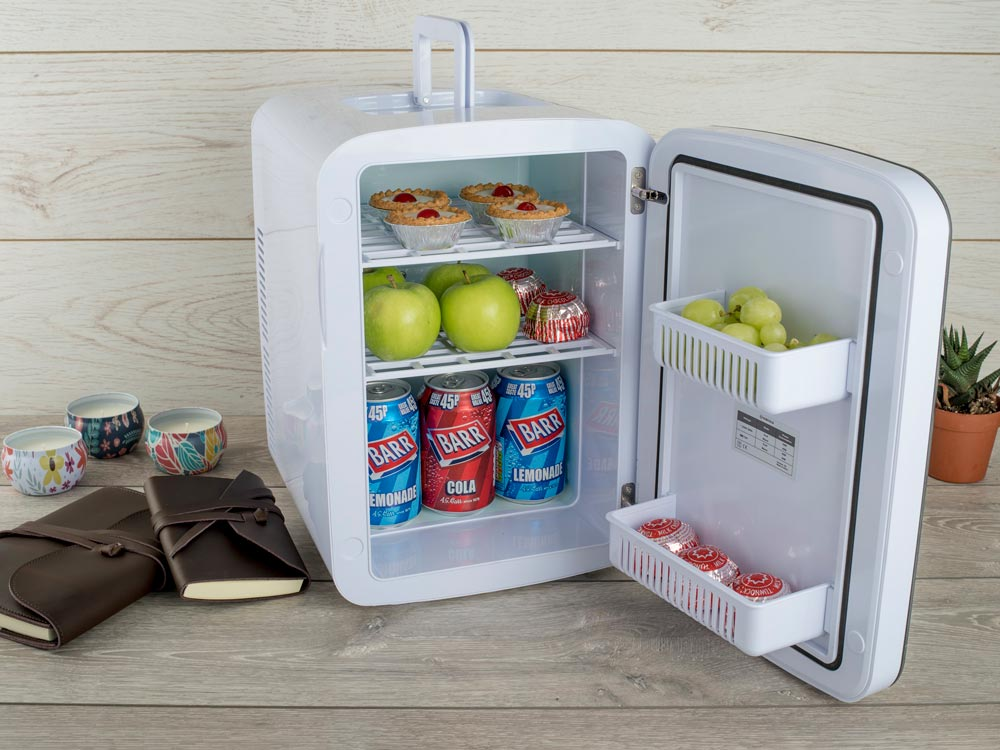 Subcold Ultra 15 litre mini fridge grey with snacks and drinks inside