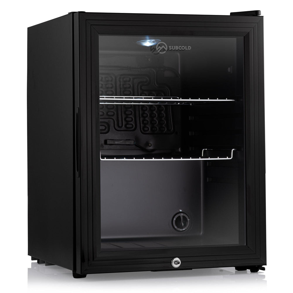 Subcold Super 35 litre beer drinks fridge black with glass door and led light inside
