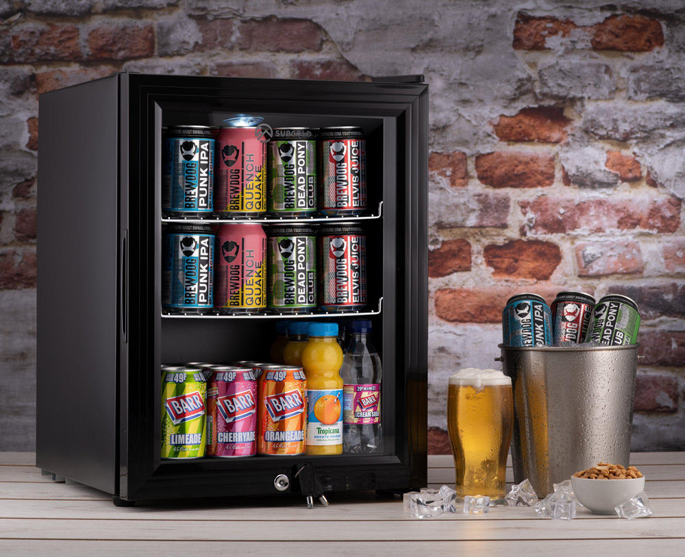 Subcold Super 35 litre beer drinks fridge black with glass door