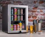 Subcold Super 35 litre beer drinks glass door fridge silver with led light