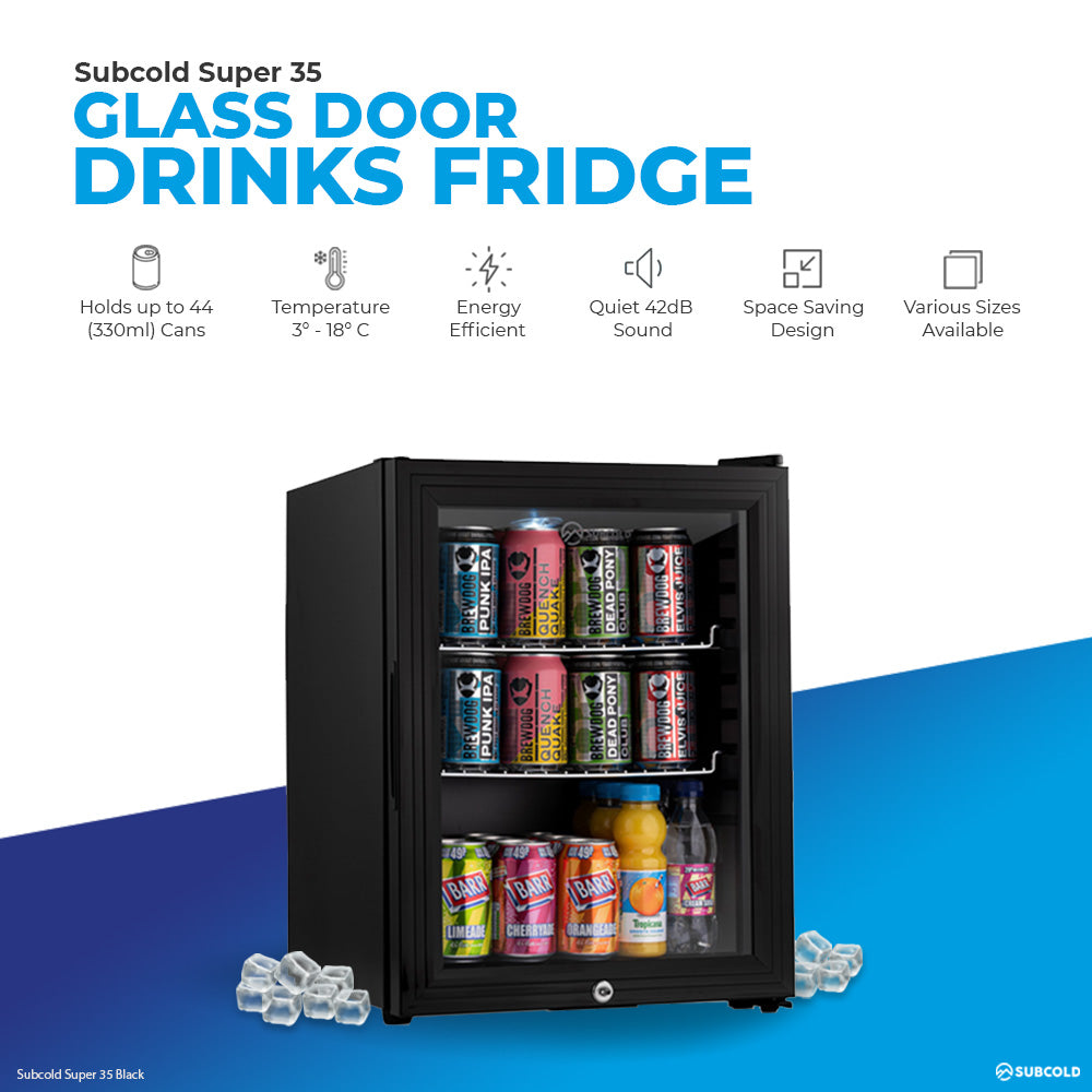 Subcold Super 35 litre table top black beer mini fridge product features infographic