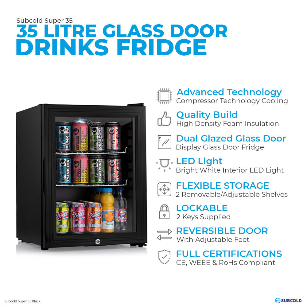 Subcold Super 35 litre table top black beer mini fridge features infographic