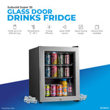 Subcold Super 35 litre table top silver beer mini fridge product features infographic