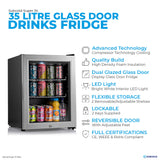 Subcold Super 35 litre table top silver beer mini fridge features infographic