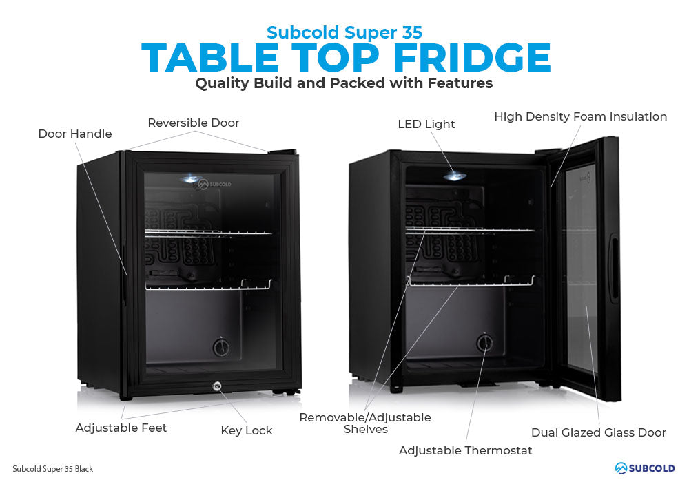 Subcold Super 35 litre table top black beer mini fridge build features infographic