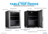 Subcold Super 35 litre table top silver beer mini fridge build features infographic