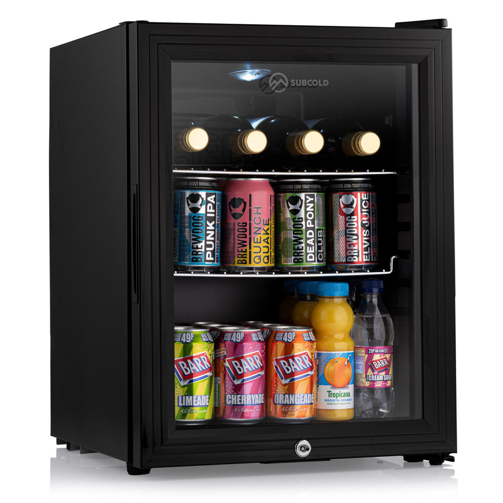 Subcold Super 35 litre glass door fridge black with internal led light