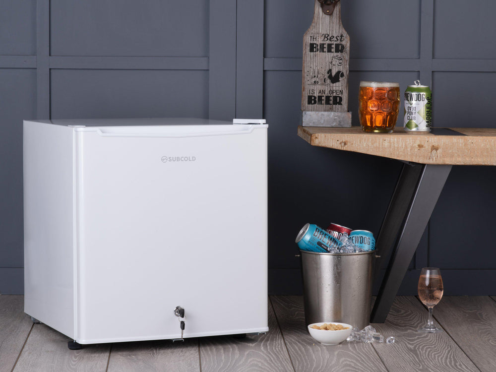 Subcold Eco 50 litre mini fridge in white lifestyle