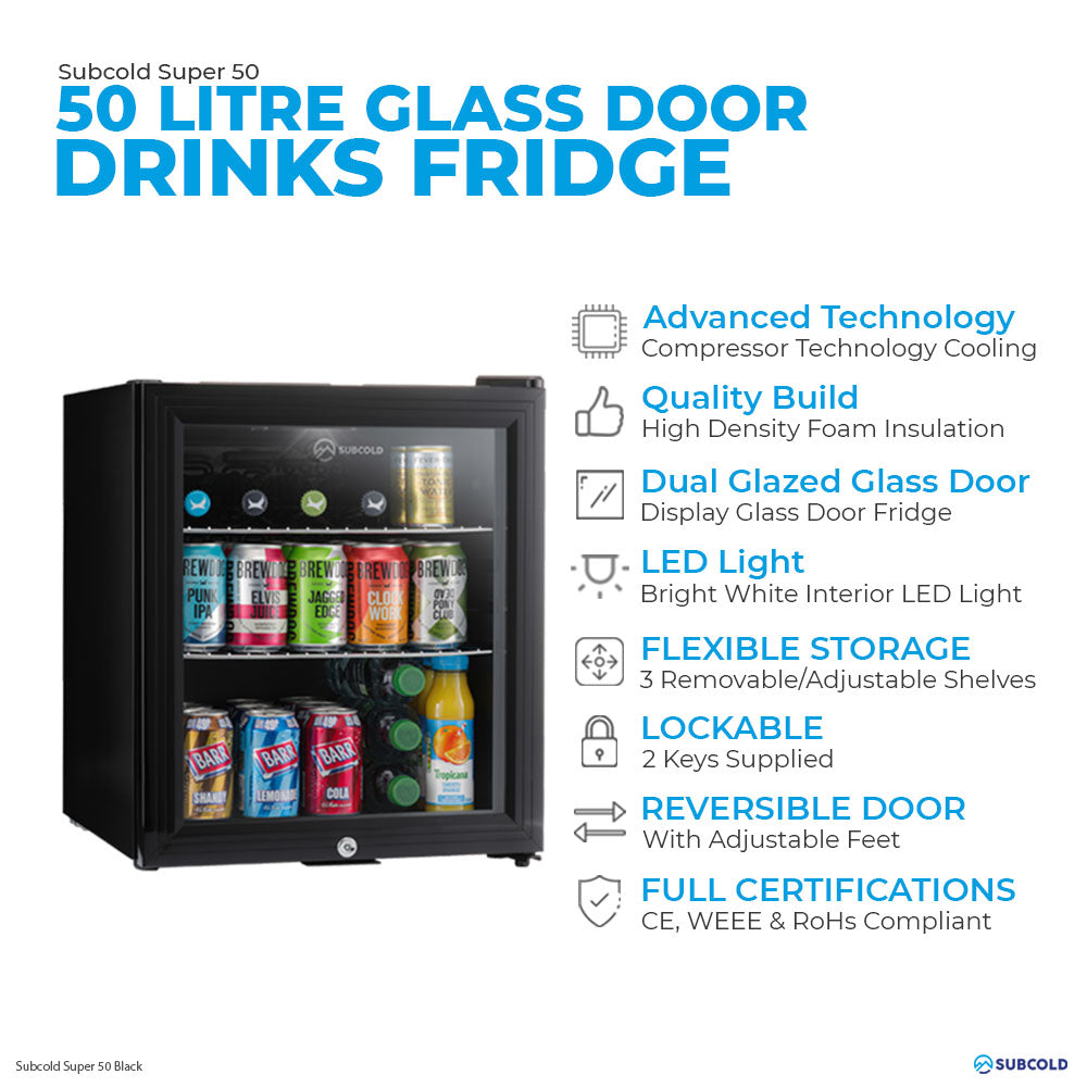 Subcold Super 50 litre table top black beer mini fridge features infographic