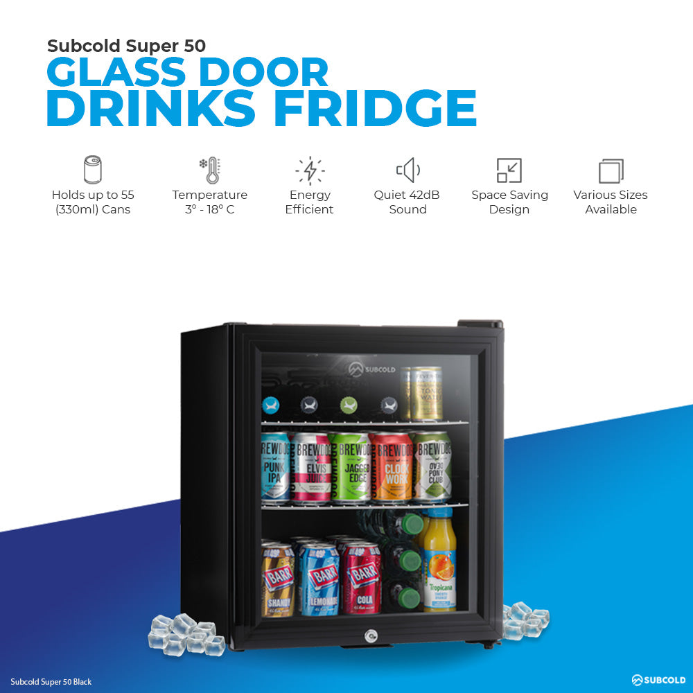 Subcold Super 50 litre table top black beer mini fridge product features infographic