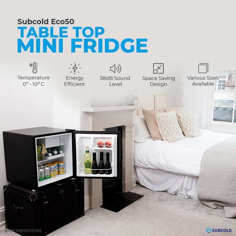 Subcold Eco 50 litre table top black mini fridge features infographic