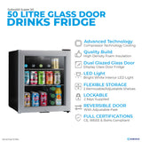 Subcold Super 50 litre table top silver beer mini fridge features infographic