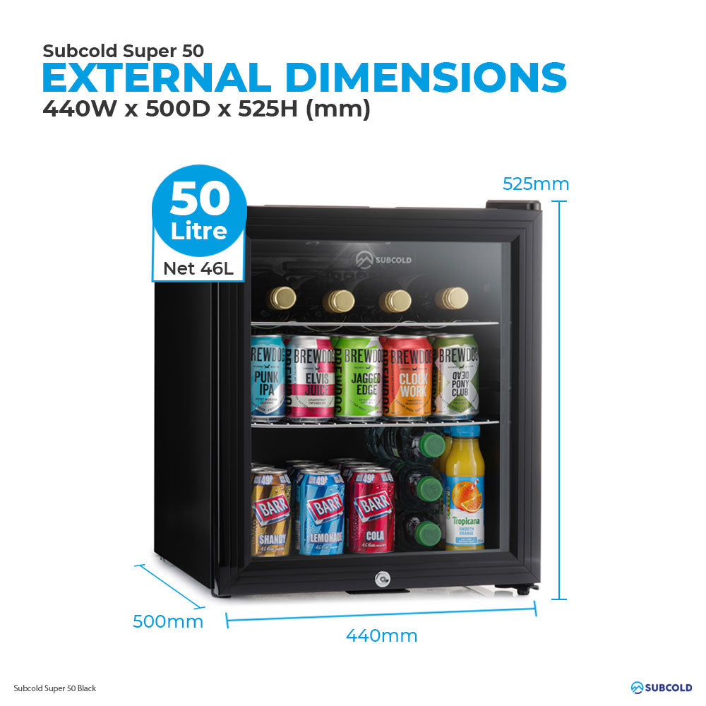 Subcold Super 50 litre table top black beer mini fridge external dimensions and storage capacity