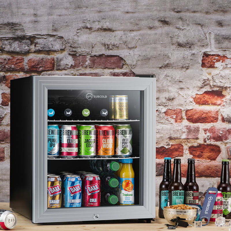 Subcold Super 50 litre table top silver beer drinks mini fridge
