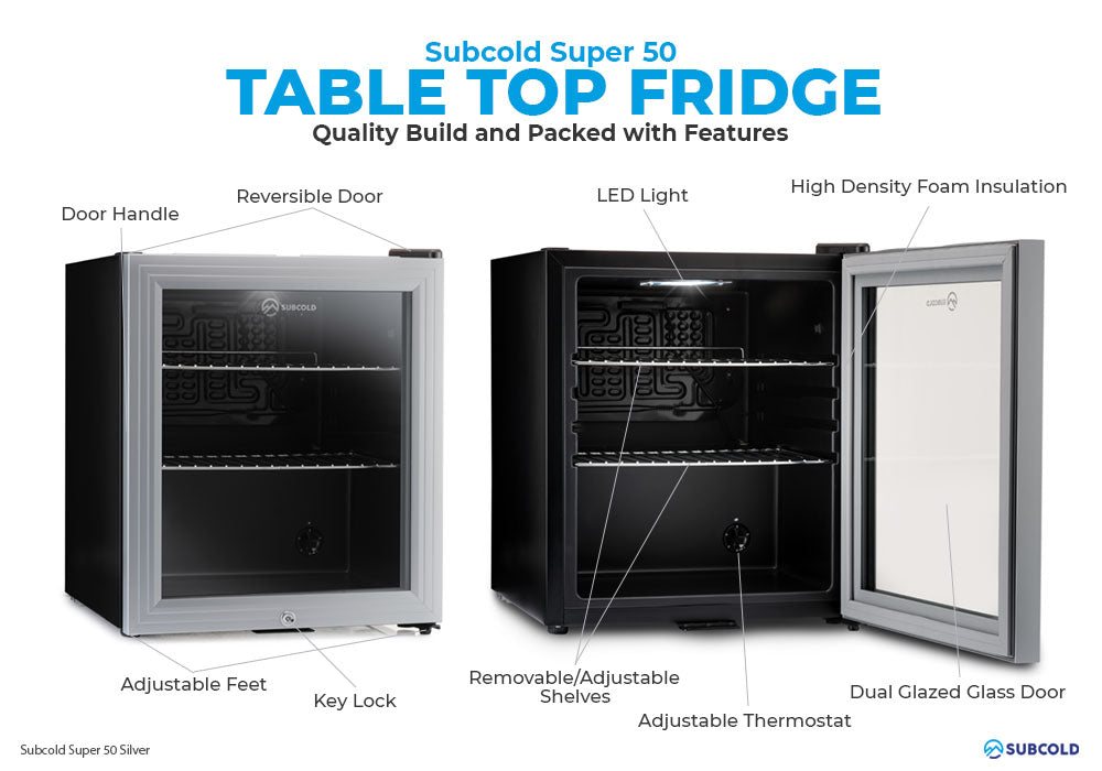 Subcold Super 50 litre table top silver beer mini fridge build features infographic