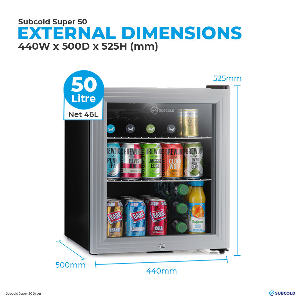 Subcold Super 50 litre table top Silver beer mini fridge external dimensions and storage capacity