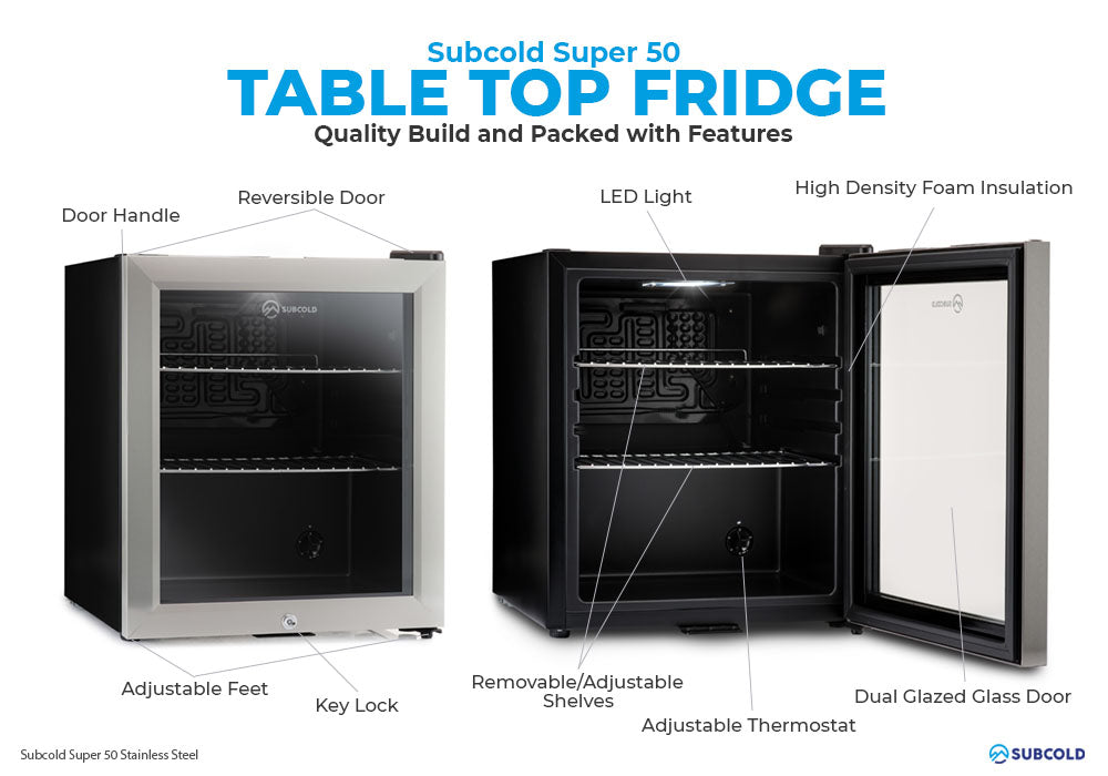 Subcold Super 50 litre table top stainless steel beer mini fridge build features infographic