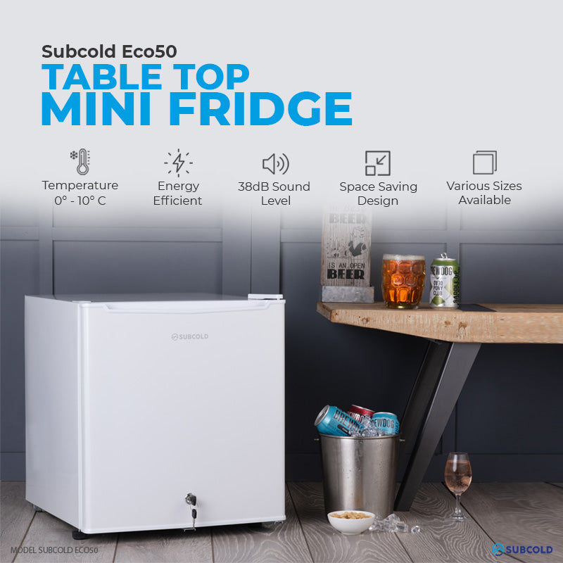 Subcold Eco 50 litre table top white mini fridge features infographic lifestyle