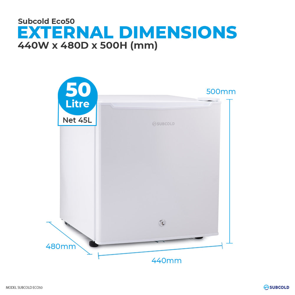 Subcold Eco 50 litre table top white mini fridge external dimensions and storage capacity