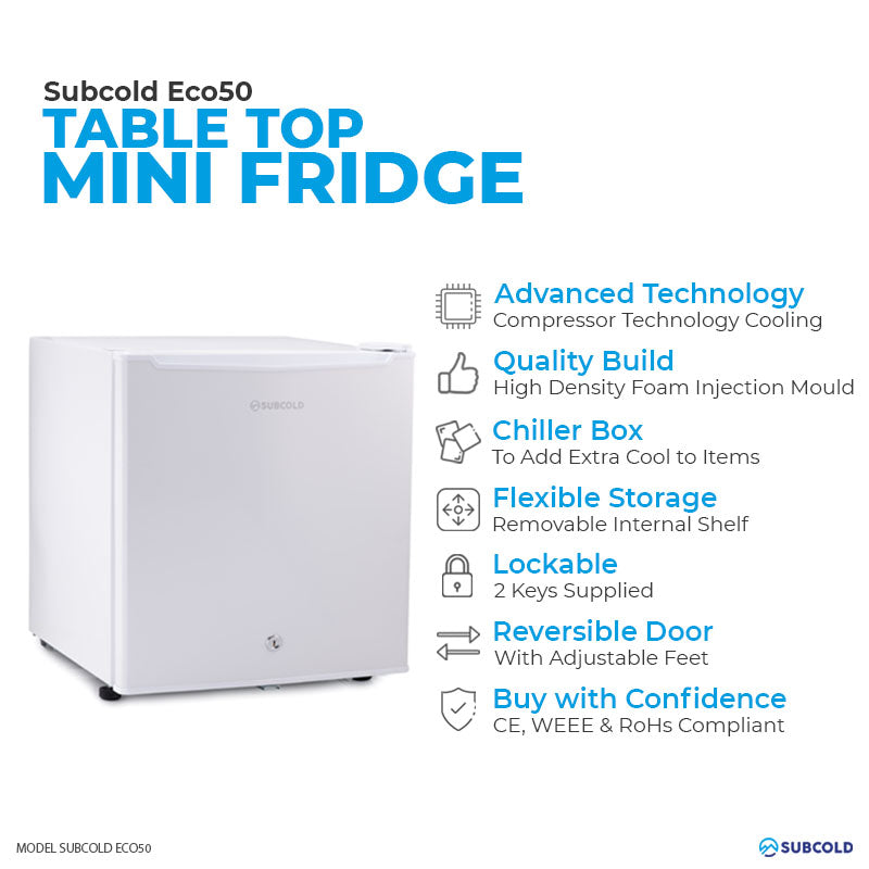 Subcold Eco 50 litre table top white mini fridge features infographic