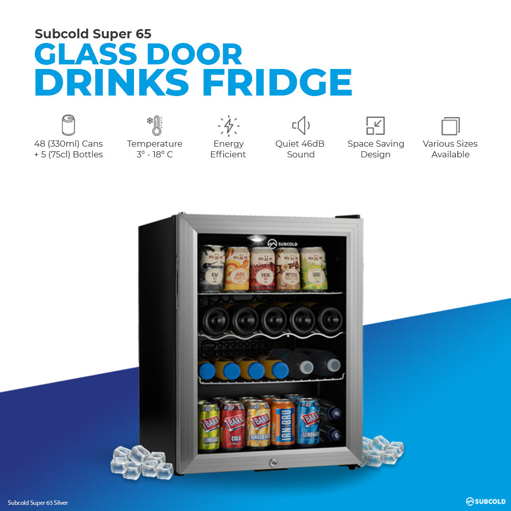 Subcold Super 65 litre table top silver beer mini fridge product features infographic