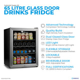 Subcold Super 65 litre table top silver beer mini fridge features infographic