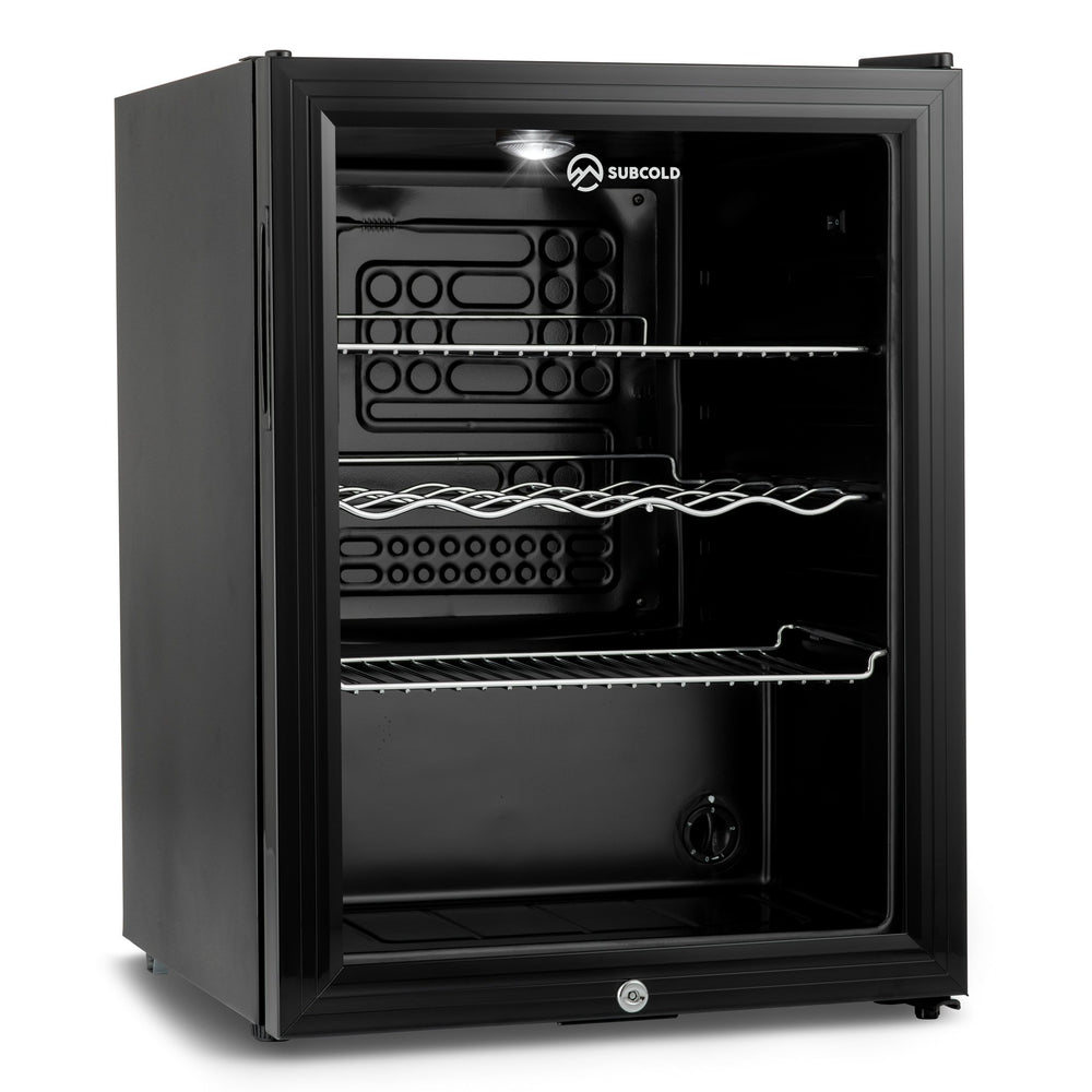 Subcold Super 65 litre beer drinks fridge black interior and led light