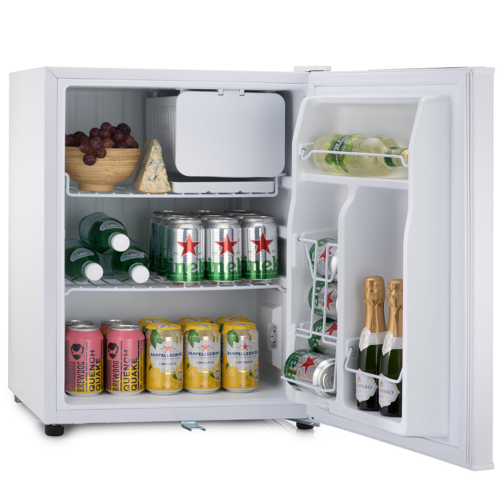 Subcold Eco 75 litre table top fridge white with snacks and drinks inside
