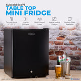 Subcold Eco 75 litre table top black mini fridge features infographic lifestyle