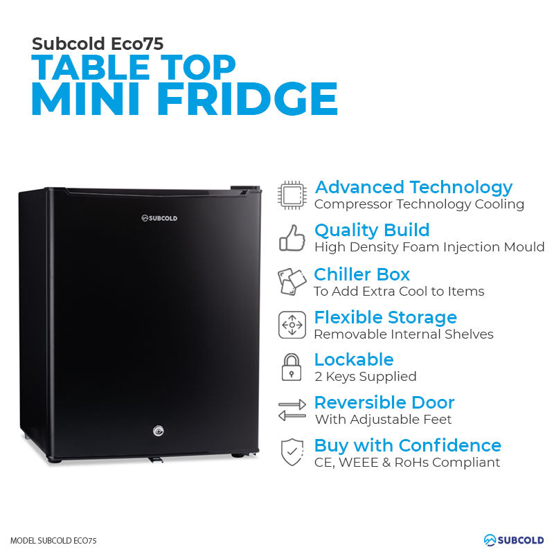 Subcold Eco 75 litre table top black mini fridge features infographic