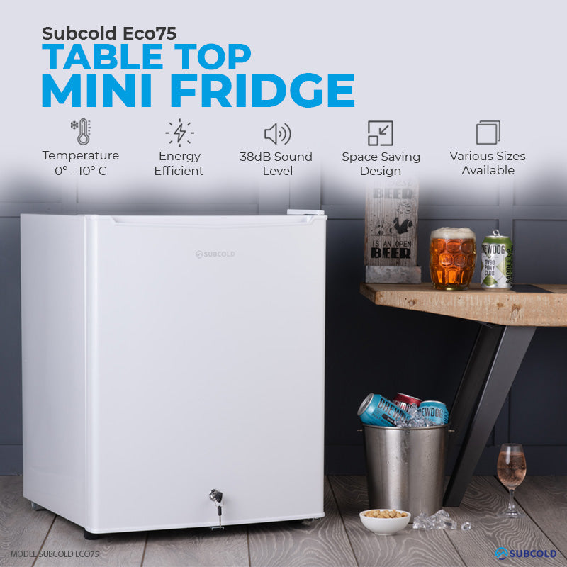Subcold Eco 75 litre table top white mini fridge features infographic lifestyle