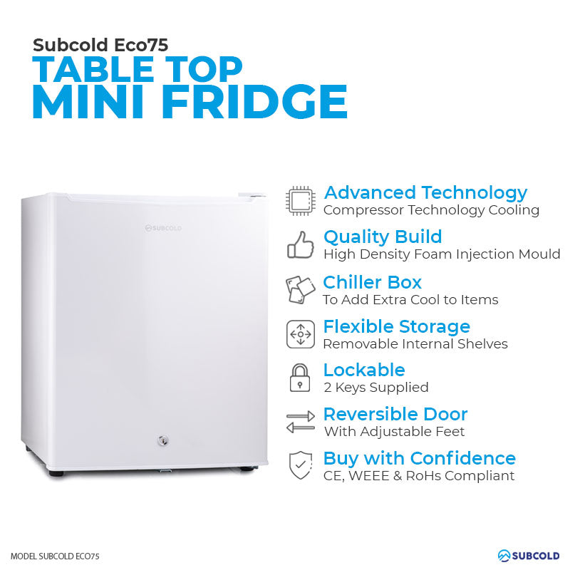 Subcold Eco 75 litre table top white mini fridge features infographic