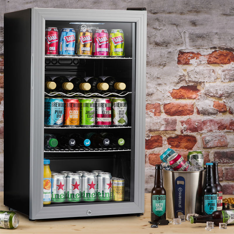 Subcold Super 85 litre glass door beer drinks under counter silver fridge lifestyle