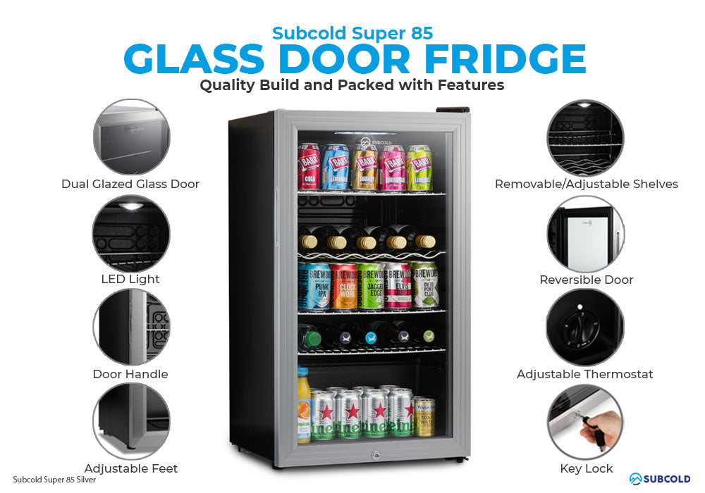 Subcold Super 85 litre under counter silver beer fridge build features infographic