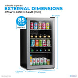 Subcold Super 85 litre under counter silver beer fridge external dimensions and storage capacity