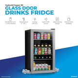 Subcold Super 85 litre under counter silver beer fridge product features infographic