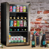 Subcold Super 85 litre glass door beer drinks under counter stainless steel fridge lifestyle