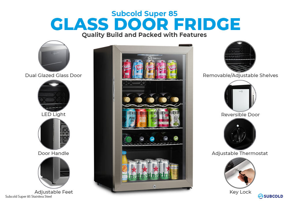 Subcold Super 85 litre under counter stainless steel beer fridge build features infographic