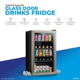 Subcold Super 85 litre under counter stainless steel beer fridge product features infographic