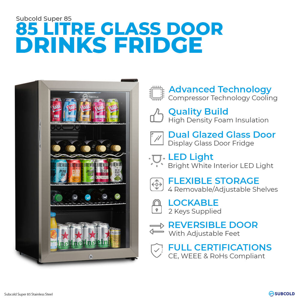 Subcold Super 85 litre under counter stainless steel beer fridge features infographic