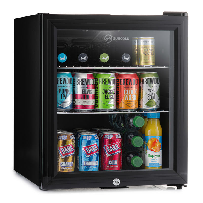 Subcold Super 50 litre glass door beer drinks black mini fridge