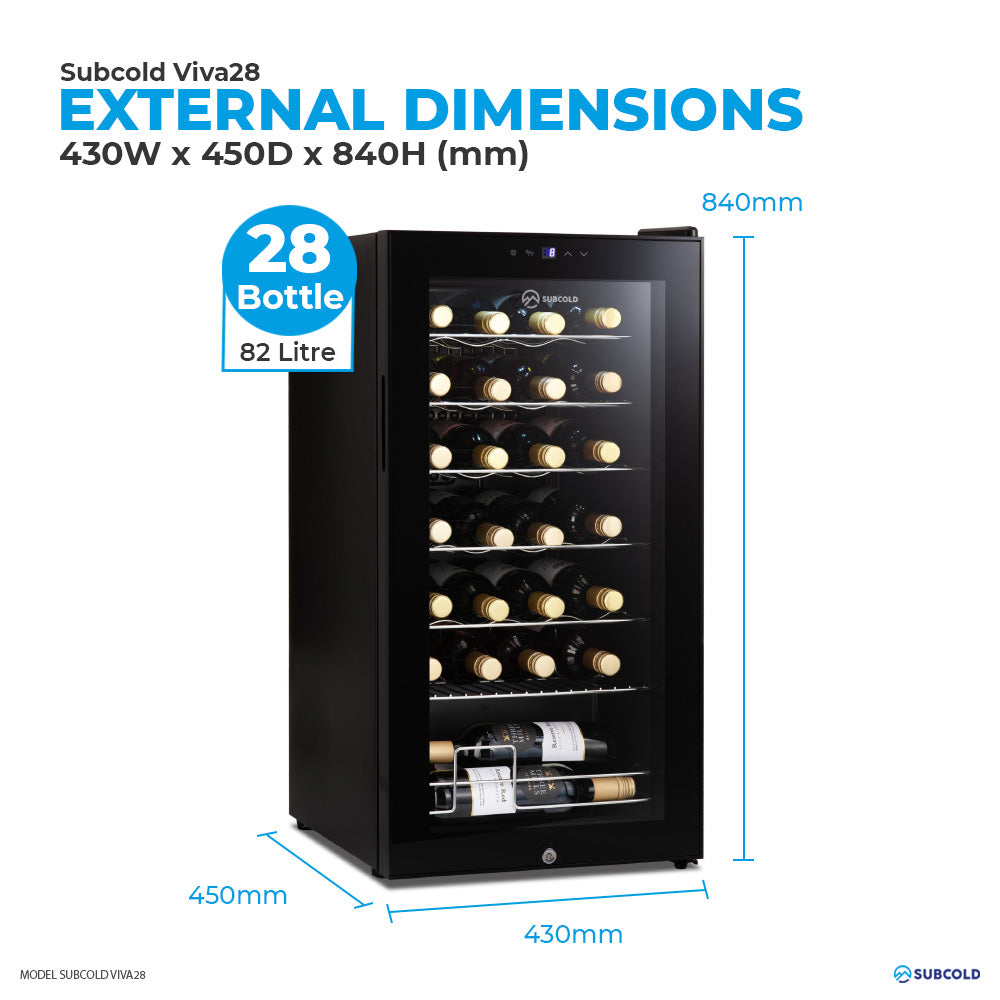 Subcold Viva 28 bottles (82 litre) wine cooler fridge external dimensions and storage capacity