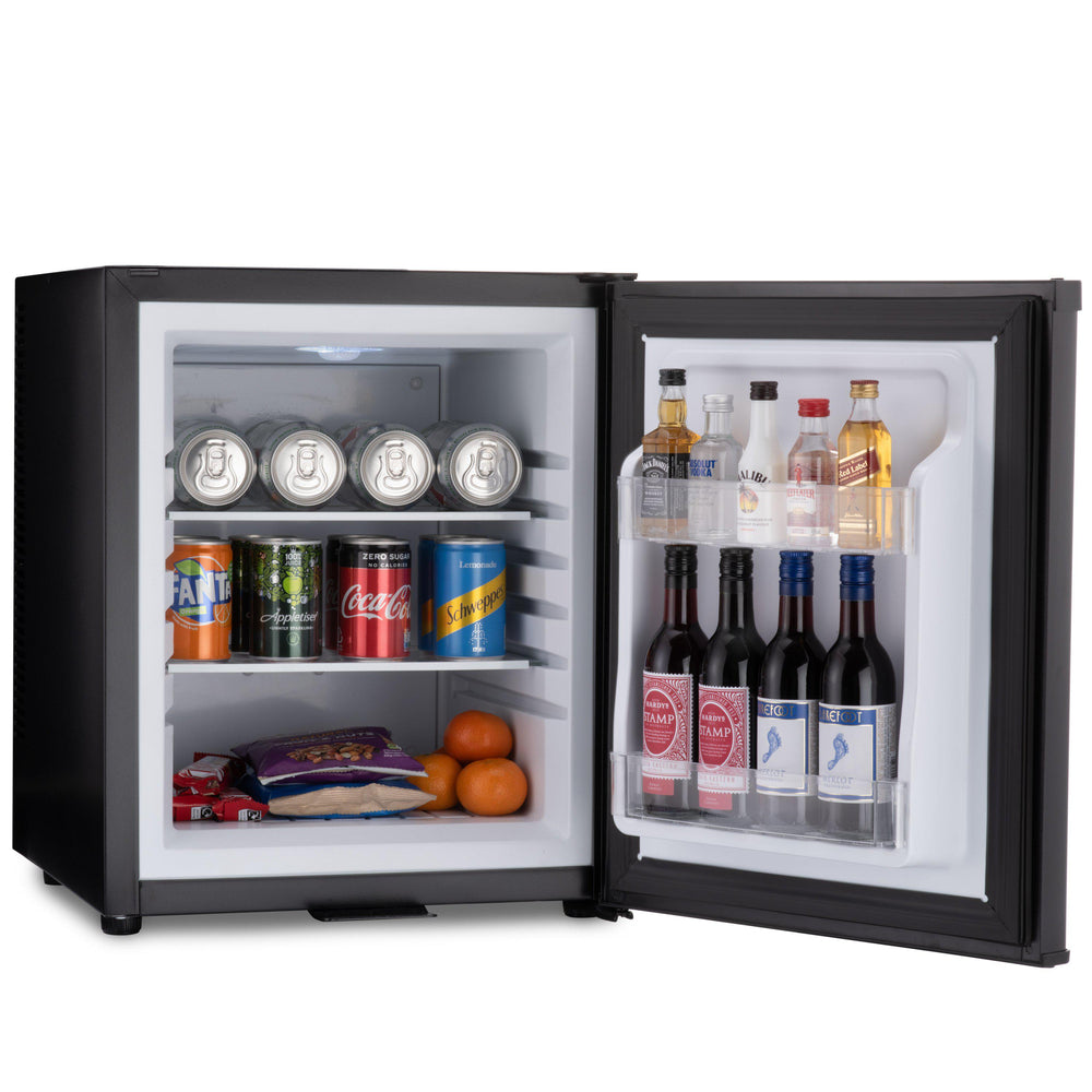 Barcool Bar 30 litre mini bar fridge black with snacks and drinks inside