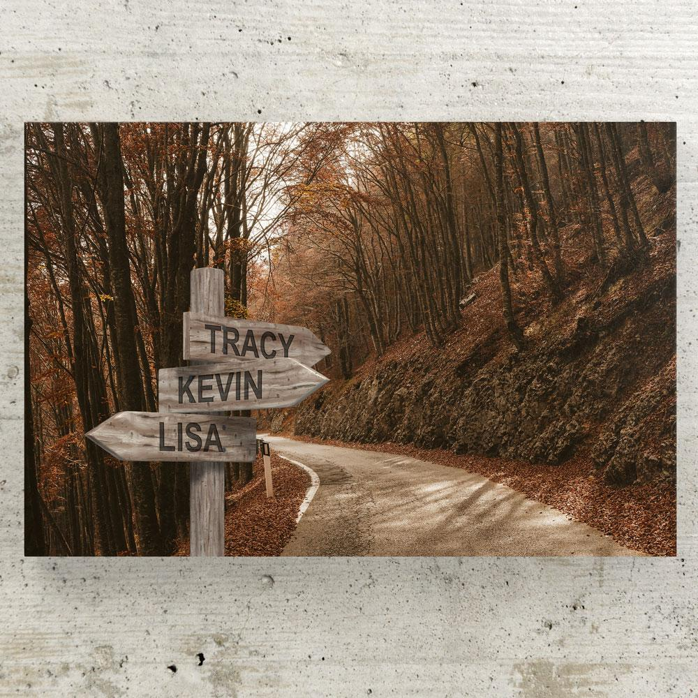 Customized Autumn Road Canvas (Up to 7 names) Canvas Wall Art 3 teelaunch