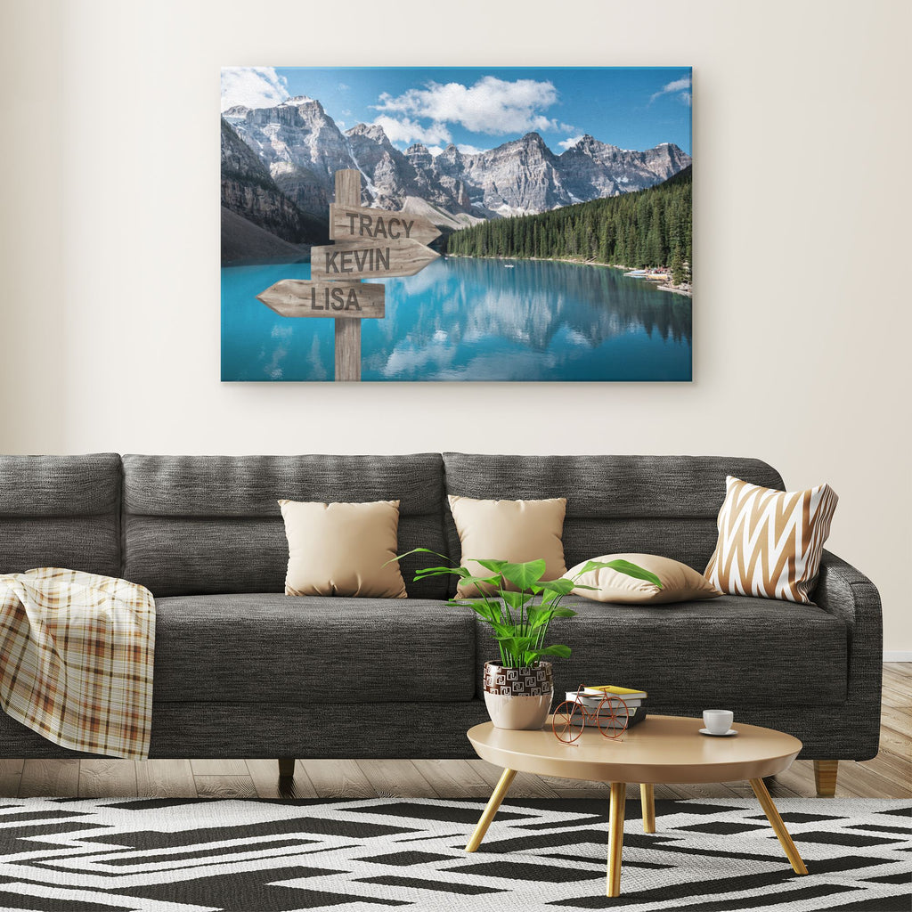 Customized Blue Lake Canvas (Up to 7 names) Canvas Wall Art 3 teelaunch