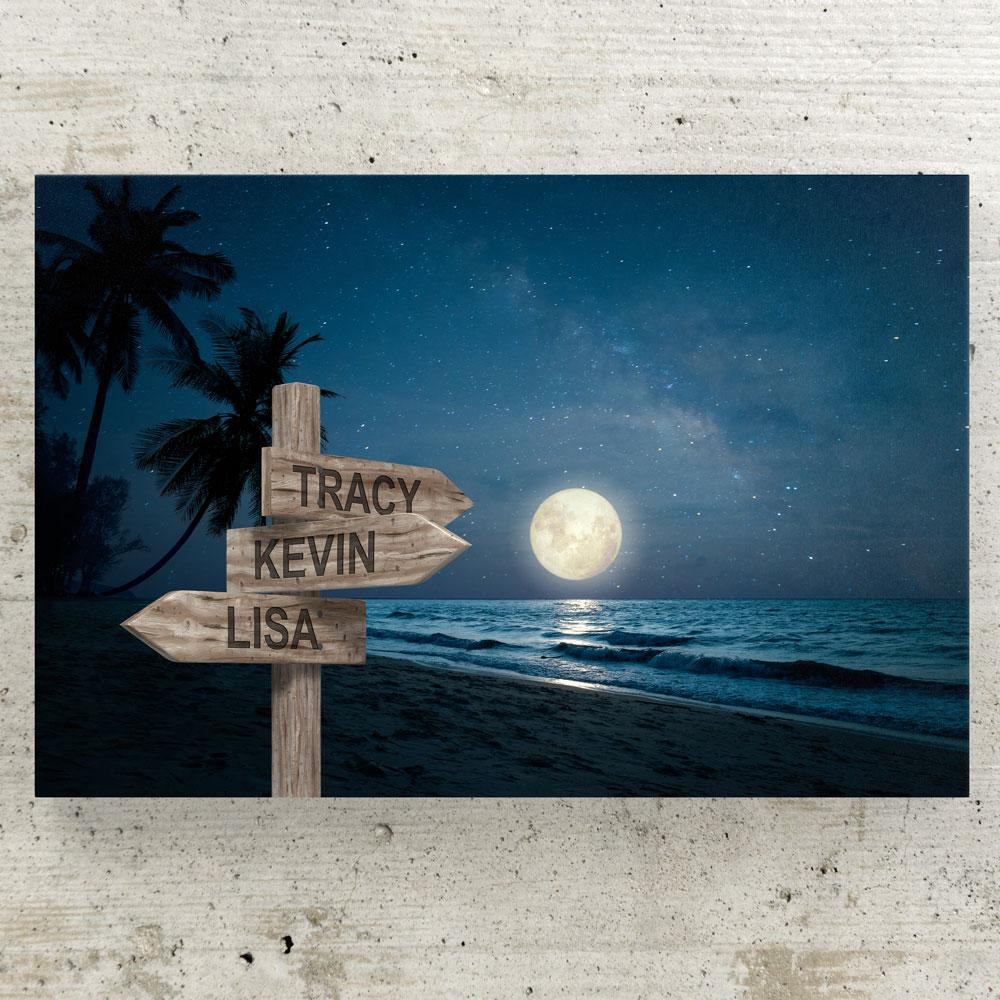 Customized Night Beach Canvas Canvas Wall Art 3 teelaunch