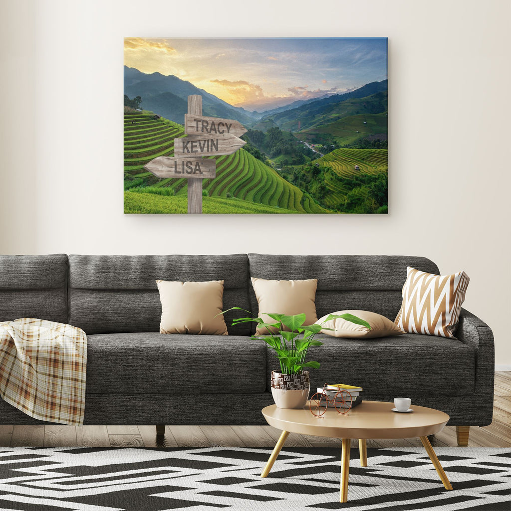 Customized Rice Fields Canvas Canvas Wall Art 3 teelaunch